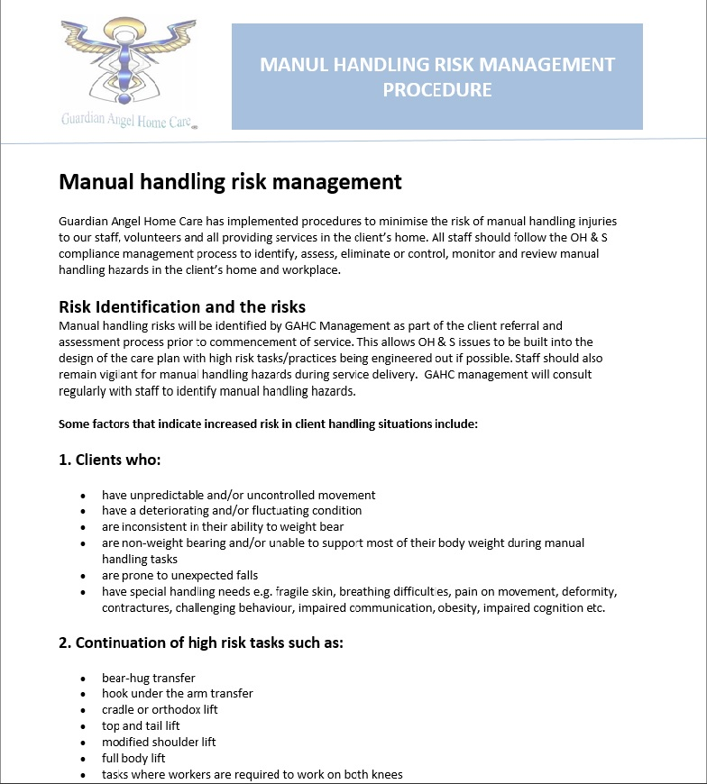 Manual Handling Risk Management  Guardian Angel Home Care