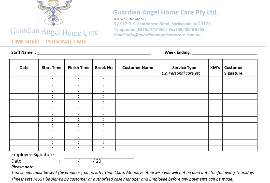 Timesheets - Guardian Angel Home care
